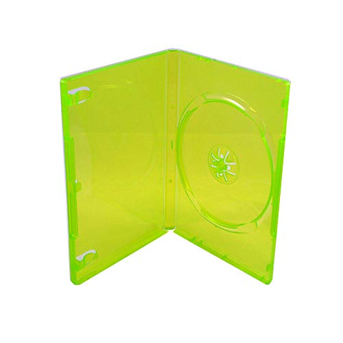 Maxtek 14mm Transparent Green Standard Single Capacity Xbox DVD Case with Outter Clear Sleeve for Xbox Games, 25 pieces (Green Single Dvd Cases)