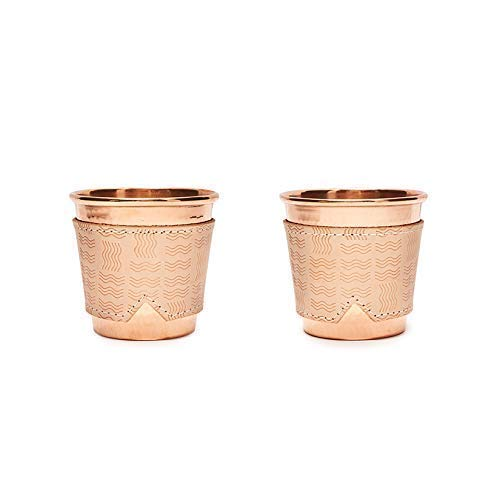 - Sertodo Hand-Forged Copper Mugs and Leather Hand-Stitched Rio Pattern Sleeve Set   from Son of a Sailor