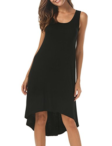 CUBEA Women Sleeveless V-Neck Casual Swing A Line Tank Dress (Large, (Black Sundress)