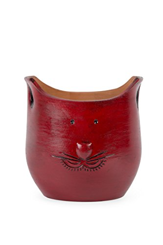 (Ten Thousand Villages Red Smiling Cat Figure Pot 'Pretty Kitty Ceramic Planter')