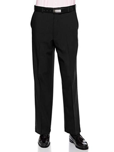 Mens Flat Front Dress Pants - Wool Blend Long Formal Pants for Men, Made in USA Black 34 Medium