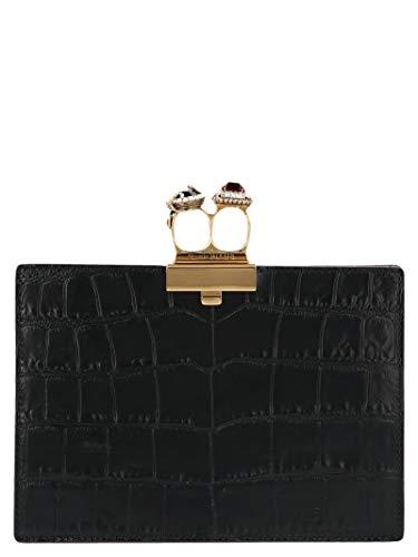 Alexander Mcqueen Women's 570585Dzt0t1000 Black Leather Clutch
