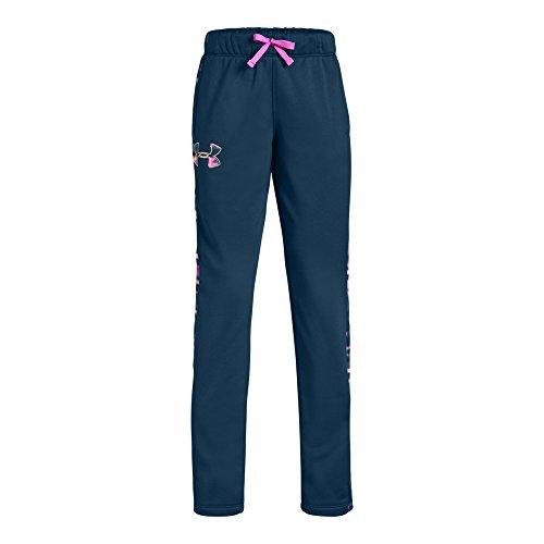 Under Armour Girls Armour Fleece Pants, Techno Teal (489)/Peach Horizon, Youth Large
