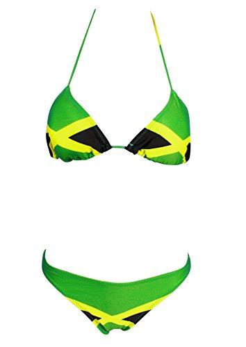 19258bfa546 ecolore Women s Fashion Caribbean Jamaica Flag Bikini Swimsuit Swimwear