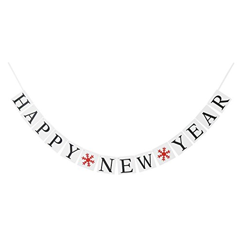 HAPPY NEW YEAR Banner Bunting Garland with Snowflake Sign - New Years Eve Party Decorations Supplies - Celebration Photo (Happy New Year Centerpiece)