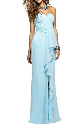 Ballkleid Damen Blau Promkleid Ausschnitt Festkleid Rueckenfrei Einfach Ivydressing Lang Herz Chiffon Abendkleid SZxBdq