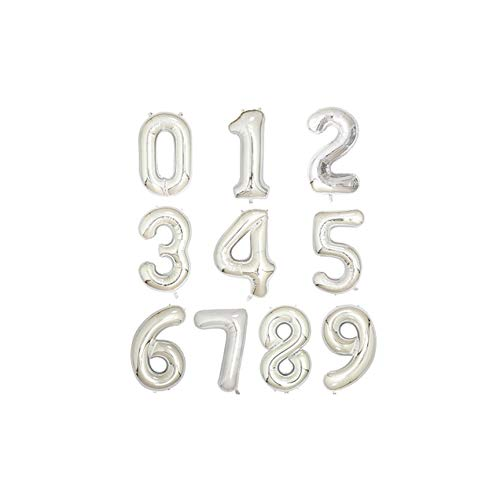 Cherryran Balloons 1Pc 40 Inch Aluminium Foil Number 0-9 Birthday Wedding Engagement Party Decor Kids Ball Supplies,Silver,Number 3,40Inch
