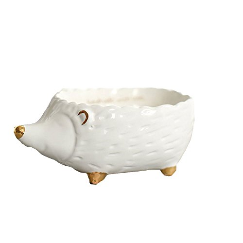 Ins Romantic Cute 3D Animal Deer Fox Hedgehog with Electroplate Ceramic Jewelry Crafts Trinket Tray Organizer Ring Desk Dish Holder Design Gift for Girlfriend Wedding Birthday Office Home Decoration