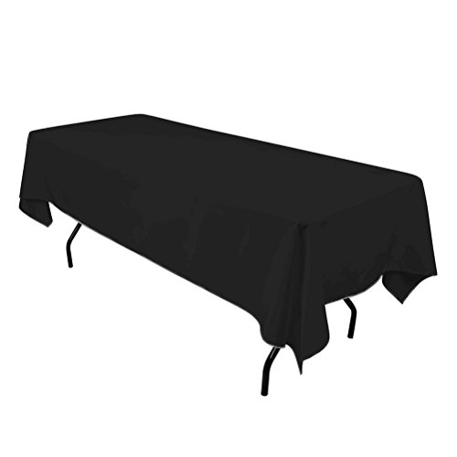 Surmente Tablecloth 60 x 102-Inch Rectangular Polyester Table Cloth for Weddings, Banquets, or Restaurants (Black) ... ... (Black Linen Tablecloth)