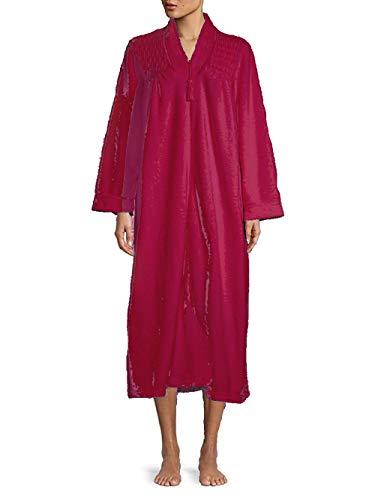 Miss Elaine Women's Front Zip V-Neck Fleece Robe (Red, Small)