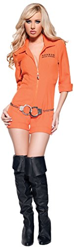 [Women's Sexy Prisoner Costume - Busted, Orange, Large] (Sexy Jumpsuit Costumes)