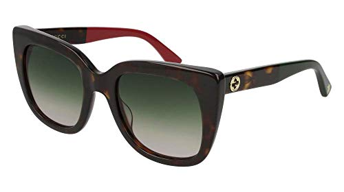 Gucci sunglasses (GG-0163-S 004) Dark Havana - Red - Grey green Gradient lenses ()
