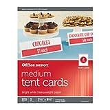 Office Depot(R) Brand Inkjet/Laser Tent Cards, Medium, 2 1/2in. x 8 1/2in, Bright White, Pack Of 100