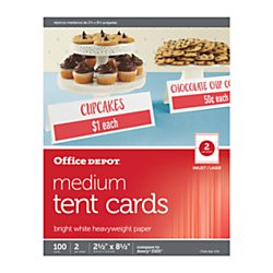 Office Depot(R) Brand Inkjet/Laser Tent Cards, Medium, 2 1/2in. x 8 1/2in, Bright White, Pack Of 100 by Office Depot