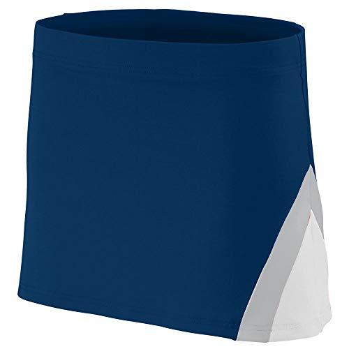 Augusta Sportswear Girls' CHEERFLEX Skirt L Navy/White/Metallic