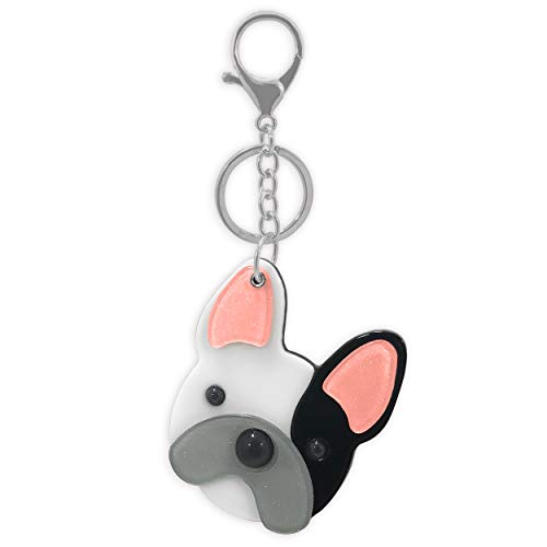 French Bulldog Frenchie Boston Terrier Cute Dog Face Keychain Bag Charm with Inside Mirror