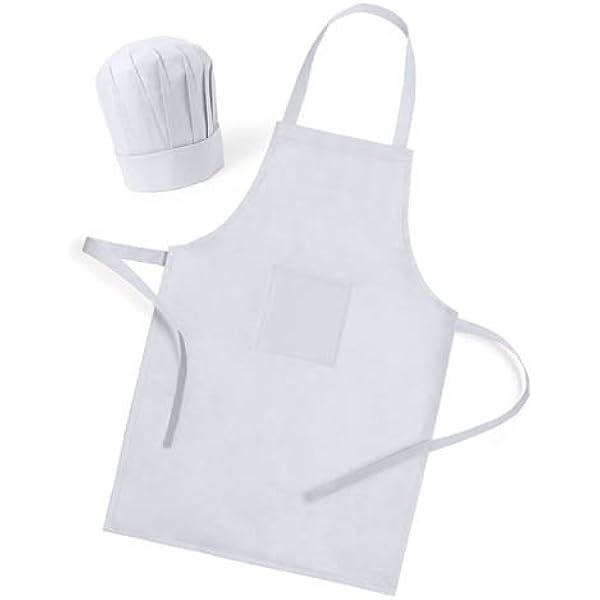 Delantal Blanco con Gorro de Cocinero para cocinar, Regalos ...