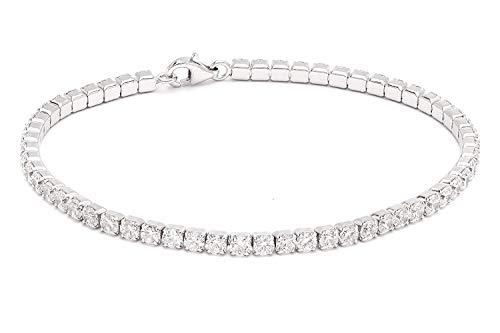 Diamond Veneer 5 CT.(3mm) Intense Round Zirconite Cubic Zirconia Sterling Silver (925) Tennis Bracelet (Rhodium)