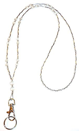 Simple White Fashion Womens Beaded Lanyard 34, Breakaway and Non Breakaway Options Available by Hidden Hollow Beads