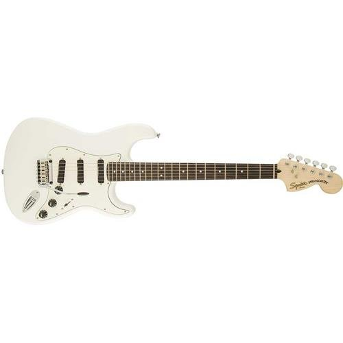(Squier by Fender Deluxe Hot Rails Stratocaster Electric Guitar - Olympic White - Rosewood Fingerboard)
