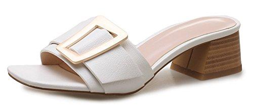 IDIFU Women's Comfort Open Toe Mid Chunky Heel Slip On Mules White