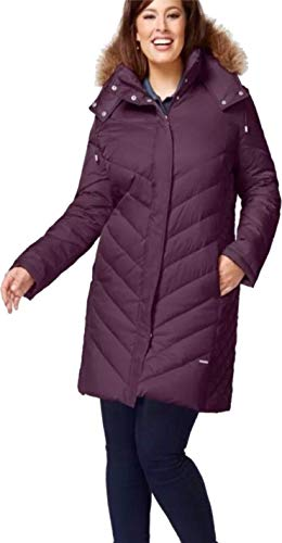 Kenneth Cole Quilted Coat - Kenneth Cole Women's Faux-Fur-Trim Chevron Quilted Down Coat, Purple, M