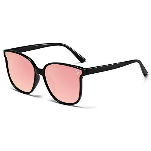 - Polarized Sunglasses for Women/Men Vintage Womens Sunglasses Driving Sun Glasses Pink Mirrored Lens/Black Frame