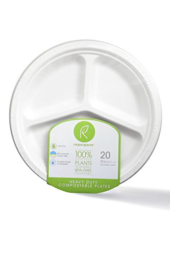 Sectional Plate - Repurpose 100% Compostable, Tree Free, Plant-Based Plates, Round, 10 inch (240 Count)