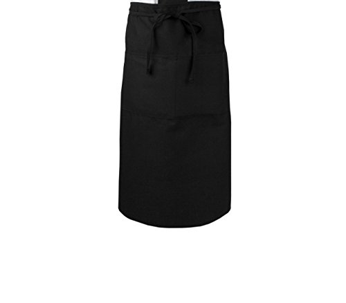 RITZ Food Service CL2PWABK-1 2-Pocket Bar Bistro Waist Apron, Black ()