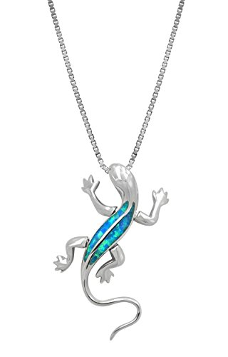 Sterling Silver Gecko Necklace Pendant with Simulated Blue Opal and 18