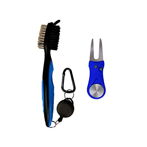 Golf Brush and Divot Repair Tool Lightweight Club Groove Cleaner Set with 2 Ft Retractable Zip-line Attaches Golf Bags Heavy Duty Golf Gift for Golfer Outdoor Sports (Blue) (Divot Brush Tool)