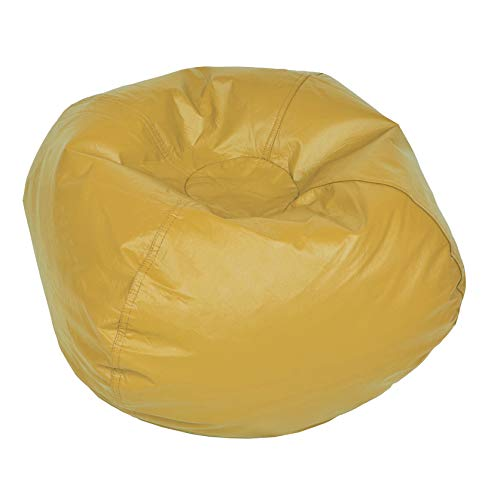 (ACEssentials Vinil Bean Bag Chairs for Kids and Teens, Yellow)