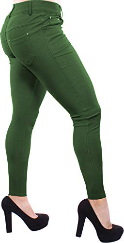 (Enimay Women's Colored Jean Look Jeggings Tights Spandex Leggings Yoga Pants Army Green)