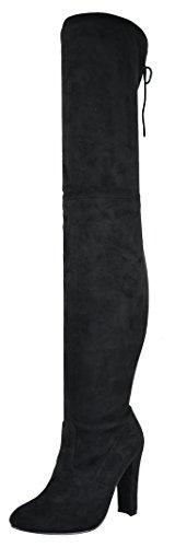 Chase & Chloe Femme Cuisse Haut Au Dessus Du Genou Botte Réglable Cravate Daim Noir