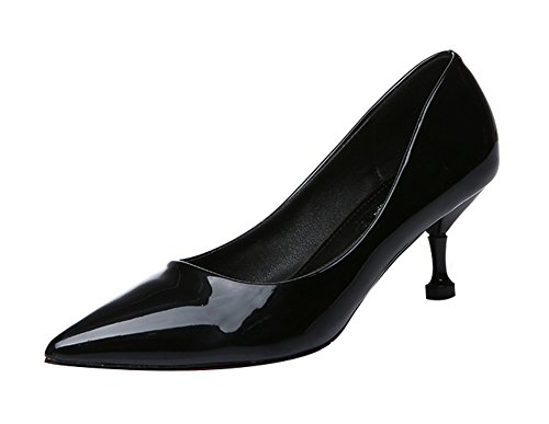 T&Mates Women's Fashion Low Top Slip-on Pointed Toe Middle Heel Pumps