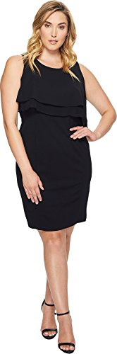 Stretch Bodice - Taylor Dresses Women's Plus Size Double Tier Bodice Stretch Crepe Dress, Black, 16W