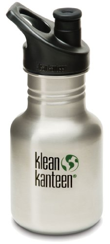 Klean Kanteen 12 oz Stainless Steel Water Bottle (Sports Cap 3.0 in Black) - Brushed Stainless