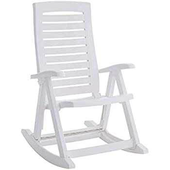 Miraculous Amazon Com White Outdoor Rocking Chair 600 Lb Capacity Bralicious Painted Fabric Chair Ideas Braliciousco