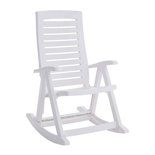 BrylaneHome Foldable Rocking Chair - White (Outdoor Resin Chairs Rocking Wicker)