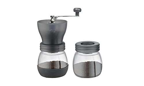 Yeme Ceramic Coffee Manual Grinder with Canister Includes Brush-Grey
