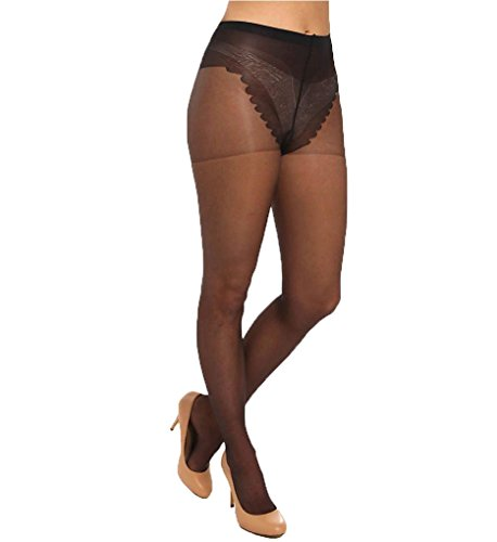 Hue French Lace Control Top Pantyhose (5970) (Lace Control Top Pantyhose)