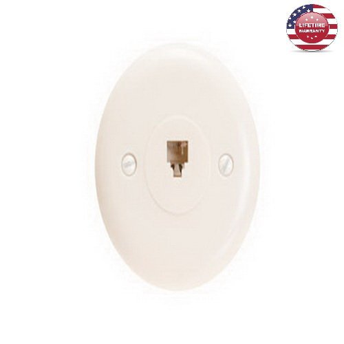 5 Pack X RJ11 4 Conductor Jack Round Wall Plate - 1 Port - Ivory - By Nexiron