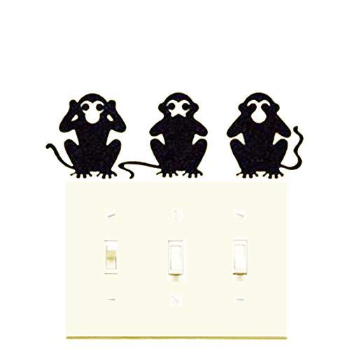 Removable Switch Sticker, 3 Pcs Cartoon Monkeys Wall Sticker, Light Switch Decor Decals, Family DIY Decor Art Car Stickers Home Decor Wall Art for Kids Living Room Office Decoration