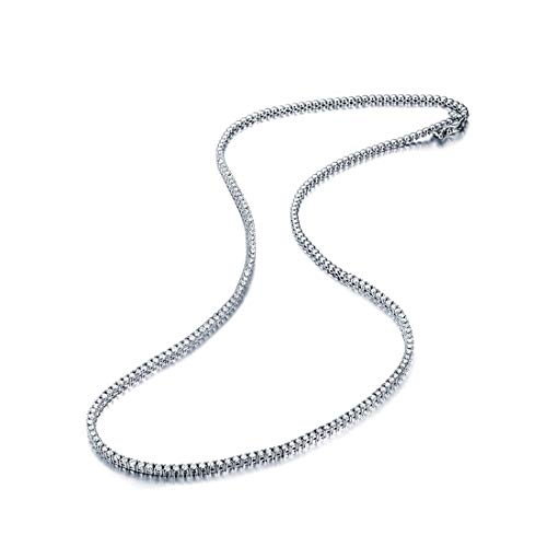 Carleen 14K Solid White Gold Diamond Tennis Necklace Round Shape 1.46 cttw for Women Girls