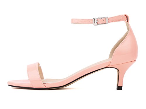 CAMSSOO Women's Open Toe Low Heel Ankle Strap Buckle Pumps Sandals PU-Pink DRtGVUJHM