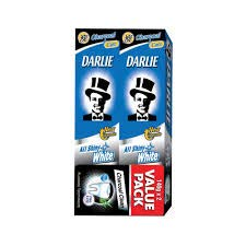(DARLIE All Shiny White Charcoal Clean Toothpaste 2 x 140g -Contains Fluoride That Fights Cavities and Protects Teeth)