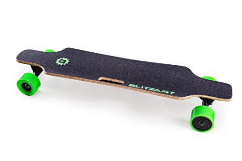 BLITZART Huracane 38' Electric Skateboard Longboard Motorized Electronic Hub-Motor 3.5' Wheels (Green)