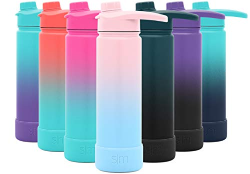 Simple Modern 22 Ounce Summit Water Bottle with Chug Lid & Protective Boot - Hydro Vacuum Insulated Flask 18/8 Stainless Ombre: Sweet Taffy