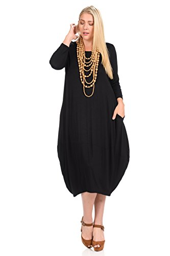 Pastel by Vivienne Women's Cocoon Midi Dress Plus Size XXX-Large Black