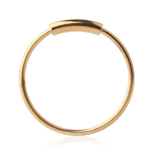 Ruifan 1PC 316L Surgical Steel Gold Plated Seamless Continuous Hoop Rings Nose Eyebrow Tragus Lip Ear Ring BCR 22 Gauge 8MM
